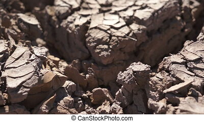Dry Cracked Earth Closeup - Extreme close up dolly shot of...