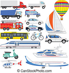 Means of Transport - vector illustration of set of means of...