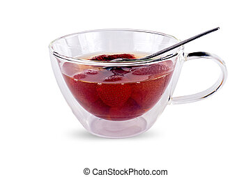 Cup with a strawberry fruit compote - Transparent glass cup...