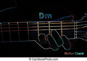 Guitar chord on a dark background, stylized illustration of...
