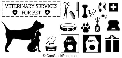 veterinary objects for pet care - set isolated veterinary...