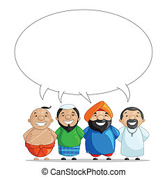 United we Stand - vector illustration of Indian people of...