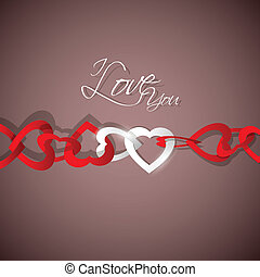 Love Background - vector illustration of chain of heart on...