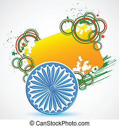 Indian Flag with Ashoka Chakra - vector illustration of...