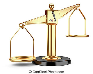 Golden scales of justice or a medical scales isolated on...
