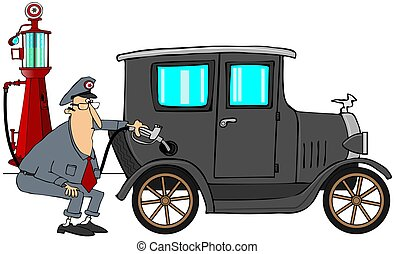 Man putting gas in antique car - This illustration depicts a...