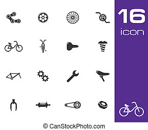 Vector black bicycle part icons set on white background