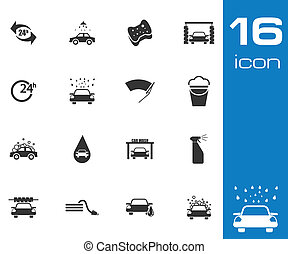 Vector black car wash icons set on gray background