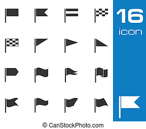 Vector black flag icons set on white background