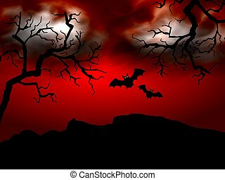 Halloween Scene red