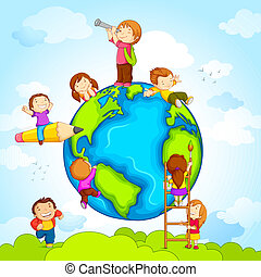 Kids around Globe - vector illustration of kids climbing...