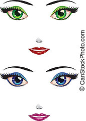 Female faces - Cartoon female faces with green and blue...