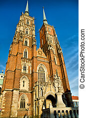 cathedral church in wroclaw, poland