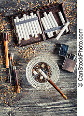 Cigarretter, askkopp, rökning, röret