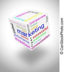 Marketing communication world with english words