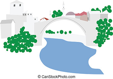 Mostar, old town vector illustration
