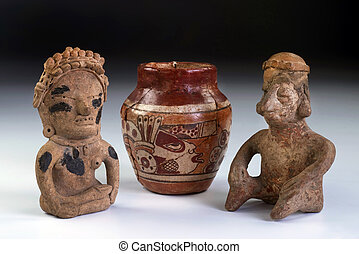 Pre Columbian pottery and clay warriors.