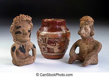 pré, Colombien, poterie, argile, Guerriers