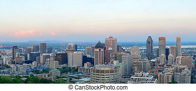 Montreal panorama - Montreal city skyline panorama at sunset...