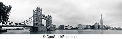 London skyline with Tower Bridge and Shard over Thames...