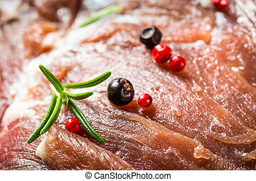 Closeup of venison with herbs and spices