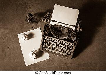 Old typewriter - Old English type writer with paper sheet...
