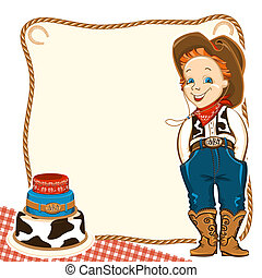 Cowboy child birthday background with cake - Cowboy happy...