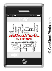Organizational Culture Word Cloud Concept on Touchscreen...