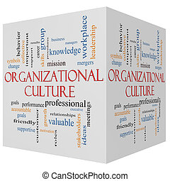 Organizational Culture 3D cube Word Cloud Concept with great...