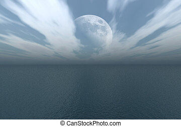 Moon over the Ocean