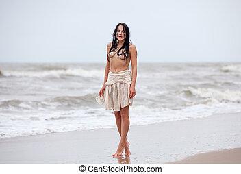 gelado, mulher,  seminude, mar, ondas
