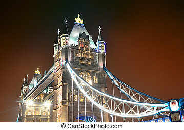 Tower Bridge at night - Tower Bridge in London as the famous...