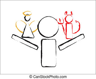 Stick Man With Angel and Devil - simple design of a figure...