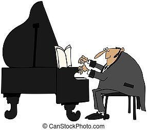 Pianist in tails - This illustration depicts a man wearing a...