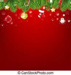Christmas Red Card With Christmas Tree Decorations