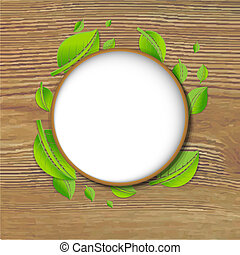 Abstract Green Leaves Banner With Wood Background