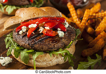 Healthy Vegetarian Portobello Mushroom Burger with Cheese...
