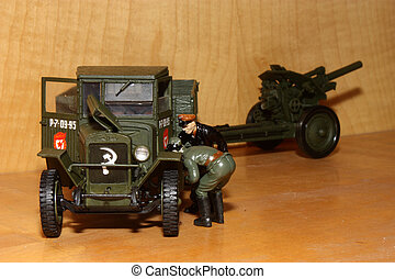 Toy model ZIS-5v - Soviet soldier and officer NKVD repair...