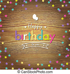 Happy Birthday Card With Color Stars
