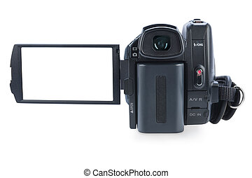 Camcorder with open lcd display, isolated on white background. Screen has a clipping path.