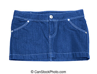 mini skirt - cotton blue mini skirt isolated on white...