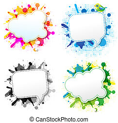 Colorful Grunge Poster With Abstract Speech Bubbles