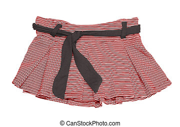 mini skirt - striped red and white mini skirt with clipping...