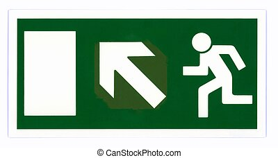 Emergency exit sign isolated on white with clipping path