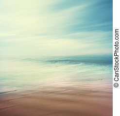Cross-Processed Sea and Sand - An abstract, time-exposure...
