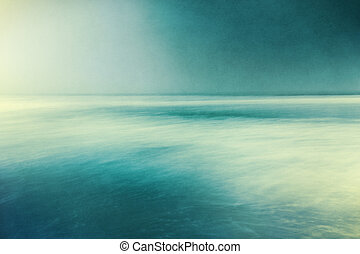 Retro Textured Seascape - An abstract ocean seascape with...