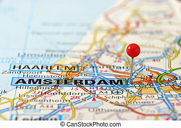 Amsterdam map - Amsterdam, Netherlands, Europe. Push pin on...