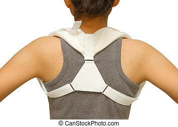 woman wearing clavicle brace for immobilize shoulder...