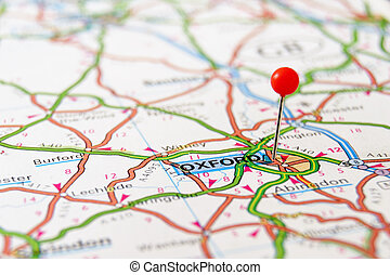 Map pin in Oxford - Closeup map of Oxford. Oxford a city in...