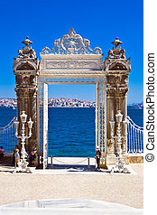 Dolmabahce gate - Gate in the garden of Dolmabahce Palace,...